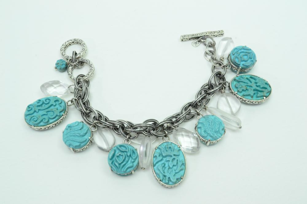 Silpada Viva La Diva Sterling Silver Carved Turquoise & Clear Stone Charm Toggle Bracelet 101G