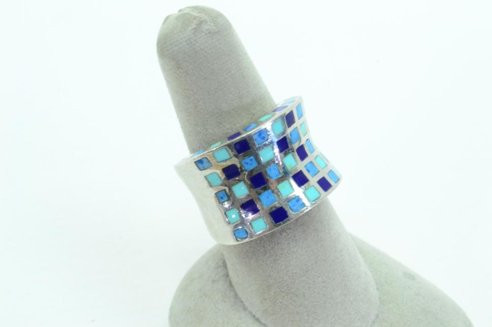 Ati Thailand Sterling Silver Checkerboard Blue Multistone Inlaid Ring 9G Sz7.75
