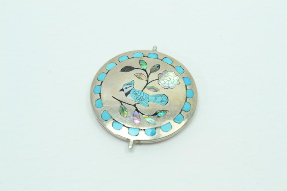 Vintage Native American Zuni Sterling Multistone Inlaid Bird Spinner Disc Pendant Part 18G
