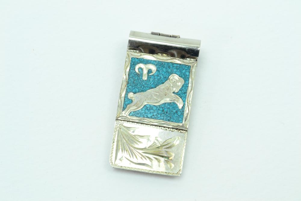 Vintage Mexico Sterling On Nickel Inlaid Chip Inlay Ram Money Clip 20.9G