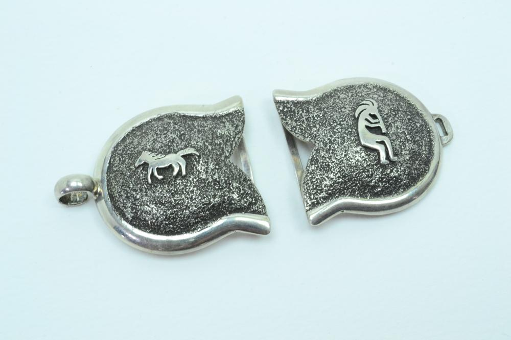 Vintage Native American Or Mexico Sterling Silver Kokopelli Horse Textured Double Belt Buckle 61G