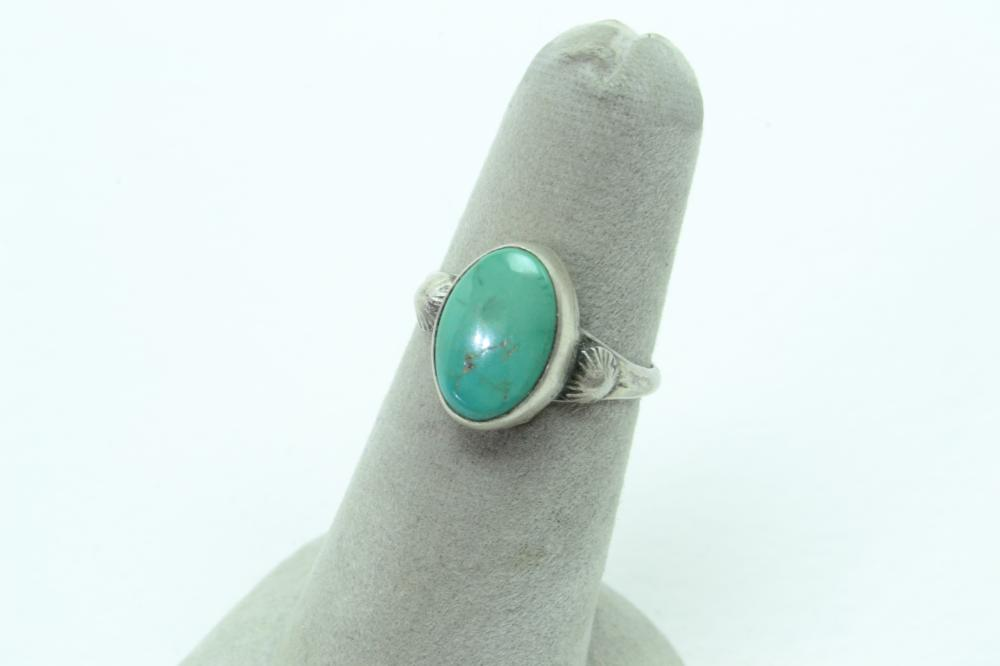 Native American Navajo Sterling Silver Turquoise Ring 2G Sz5.5