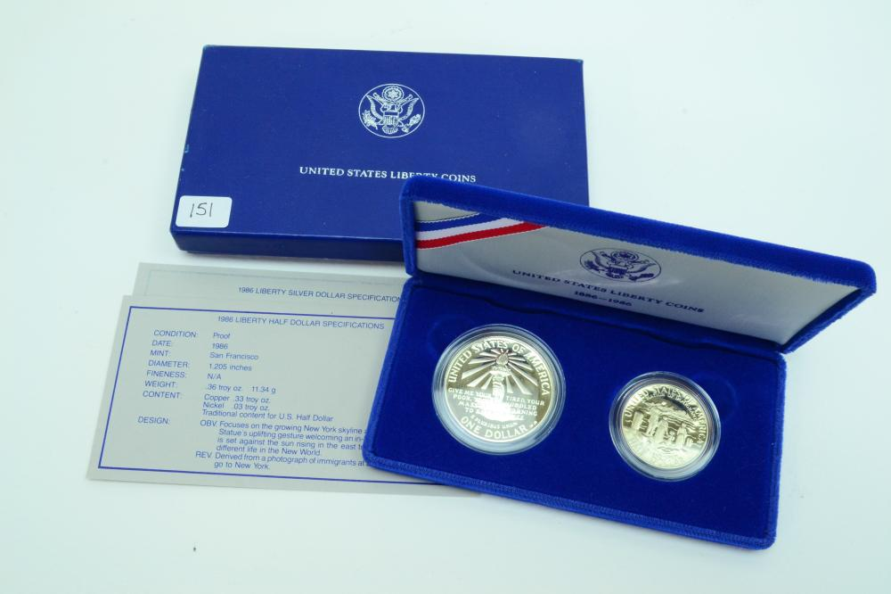 1996 Us Mint Liberty Coins Proof Half & Silver $1 Dollar Set