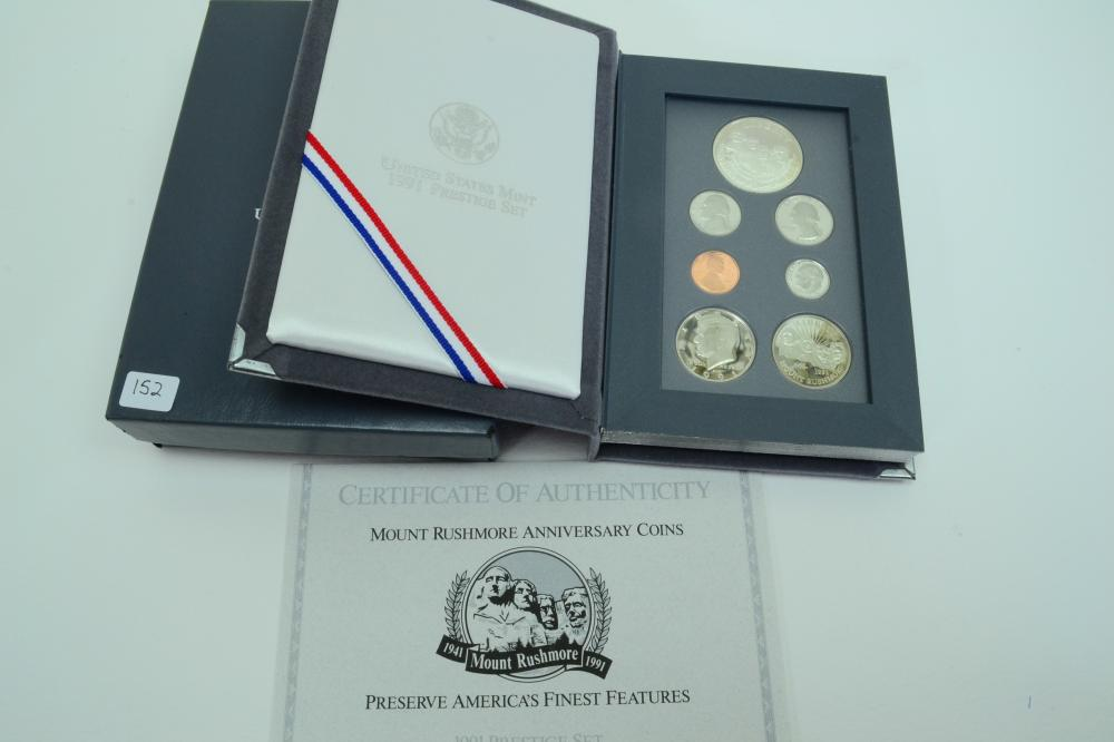 United States Mint 1991 Prestige Set With Mount Rushmore Silver Dollar
