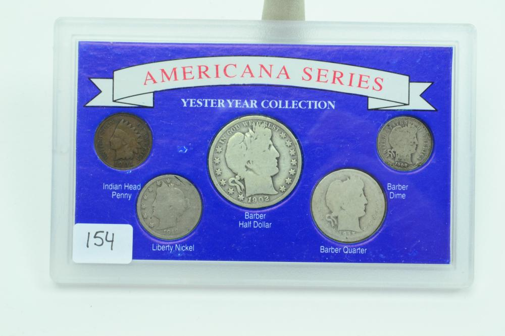 Us Silver Coins Set 1901 Indian Cent 1912 Liberty Nickel 1908 Barber Dime 1915 Quarter 1902 Half Dollar