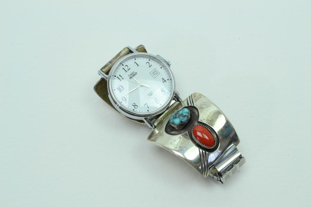 Vintage Native American Navajo Mens Sterling Spiderweb Turquoise Coral Shadowbox Tips & Timex Watch 61.9G