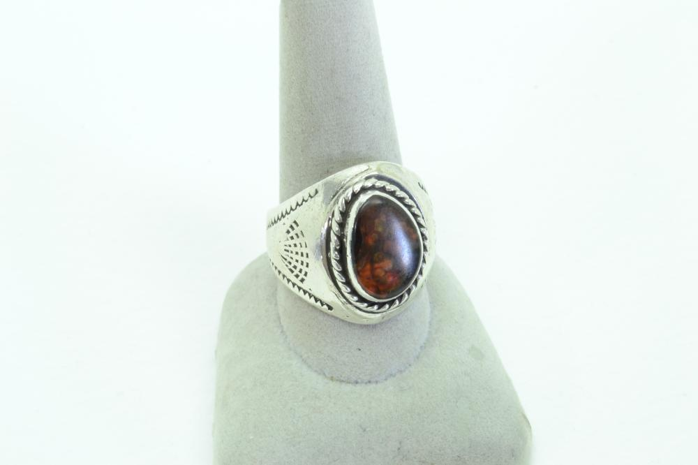 Vintage Mens Native American Or Mexico Fire Agate Ring  10.5G Sz11