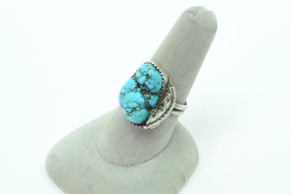 Vintage Native American Navajo Sterling Silver Turquoise Nugget Feather Ring 6.2G Sz8