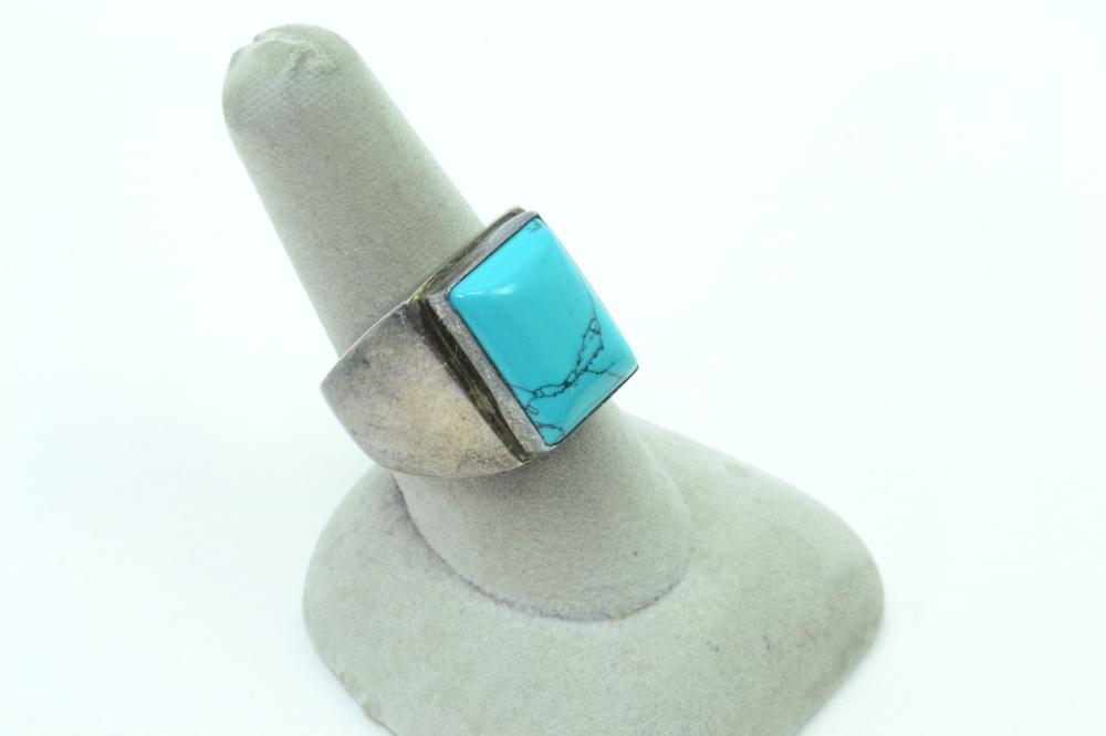Vintage Mexico Sterling Silver Turquoise Mens Chunky Ring 18G Sz8.5