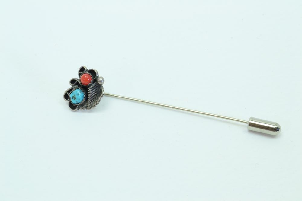 Vintage Native American Navajo Sterling Turquoise Coral Feather Stick Hat Pin 3.8G