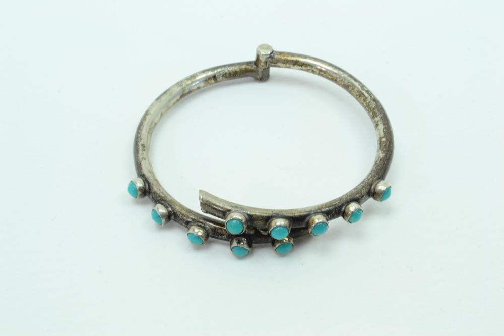 Vintage Mexico Southwestern Sterling Silver Turquoise Art Deco Clamp Bracelet 15G
