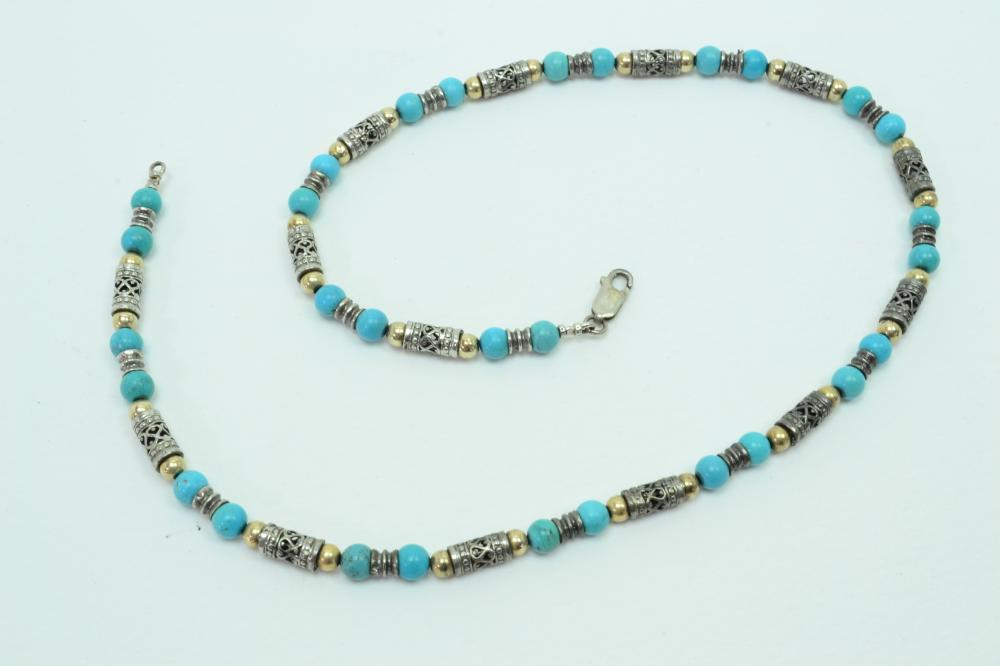 "14Kt Gold Sterling Silver Turquoise 20.5"" Bead Necklace 32G"