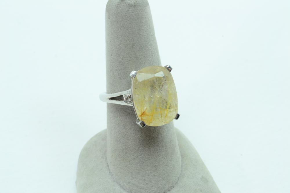 Sts Sterling Silver Large Faceted Rutilated Quartz Solitaire Ring 6G Sz7.5