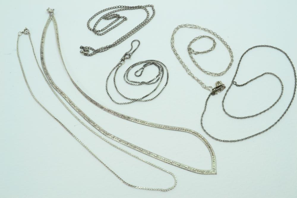6 Vintage Sterling Silver Necklace Chains