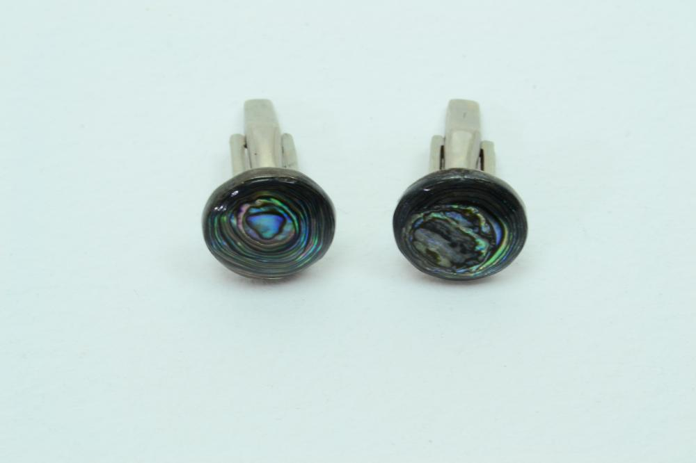 Vintage Taxco Mexico Sterling Silver Layered Abalone Cuff Links 9G