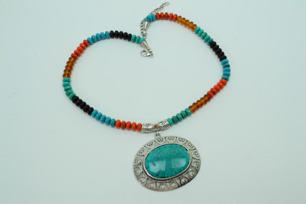 Southwestern Style Costume Jewelry Amber Coral Silverplated Turquoise Pendant Necklace