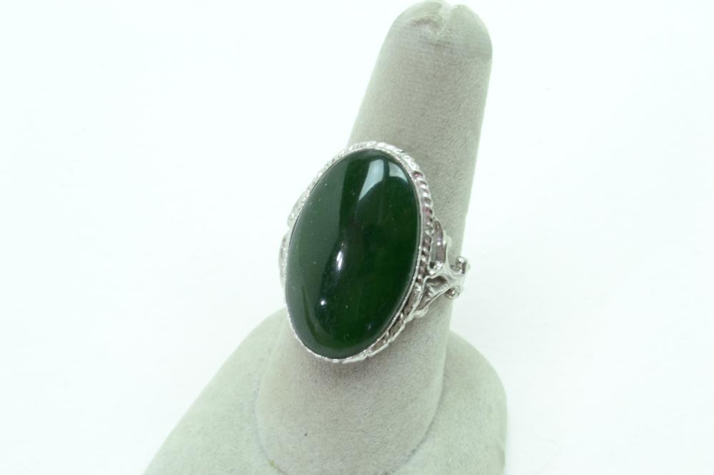 Vintage Sterling Silver Jade Oval Fashion Ring 8.2G Sz8