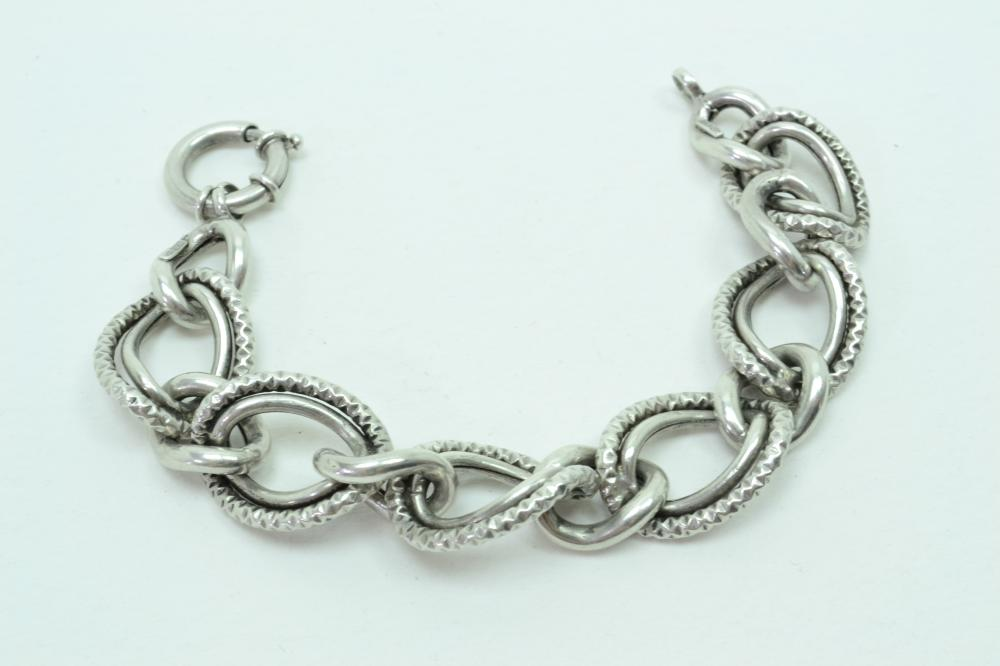 Italian Sterling Silver Large Curb Link Fashion Bracelet 20G