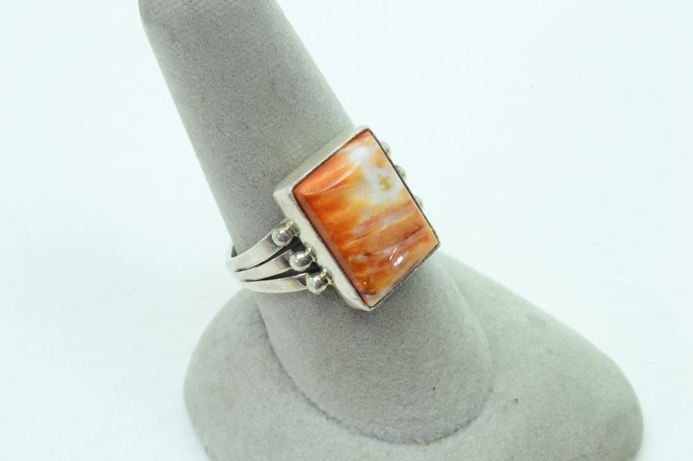 Vintage Native American Navajo Sterling Silver Orange Spiny Oyster Ring 5.2G Sz8