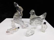 Lot Of 8 Vintage Glass Candy Containers And Molded Animals
