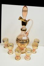 Mid-Century Gold And Pink Glass Romanian Wine Decanter And Cordial Glasses
