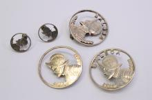 Lot Of 3 Vintage Balboa Silver Cut Out $1 Coin Brooches And 2 Dime Earrings