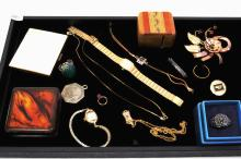 Assorted Lot Of Jewelry Compacts And Other Small Trinkets