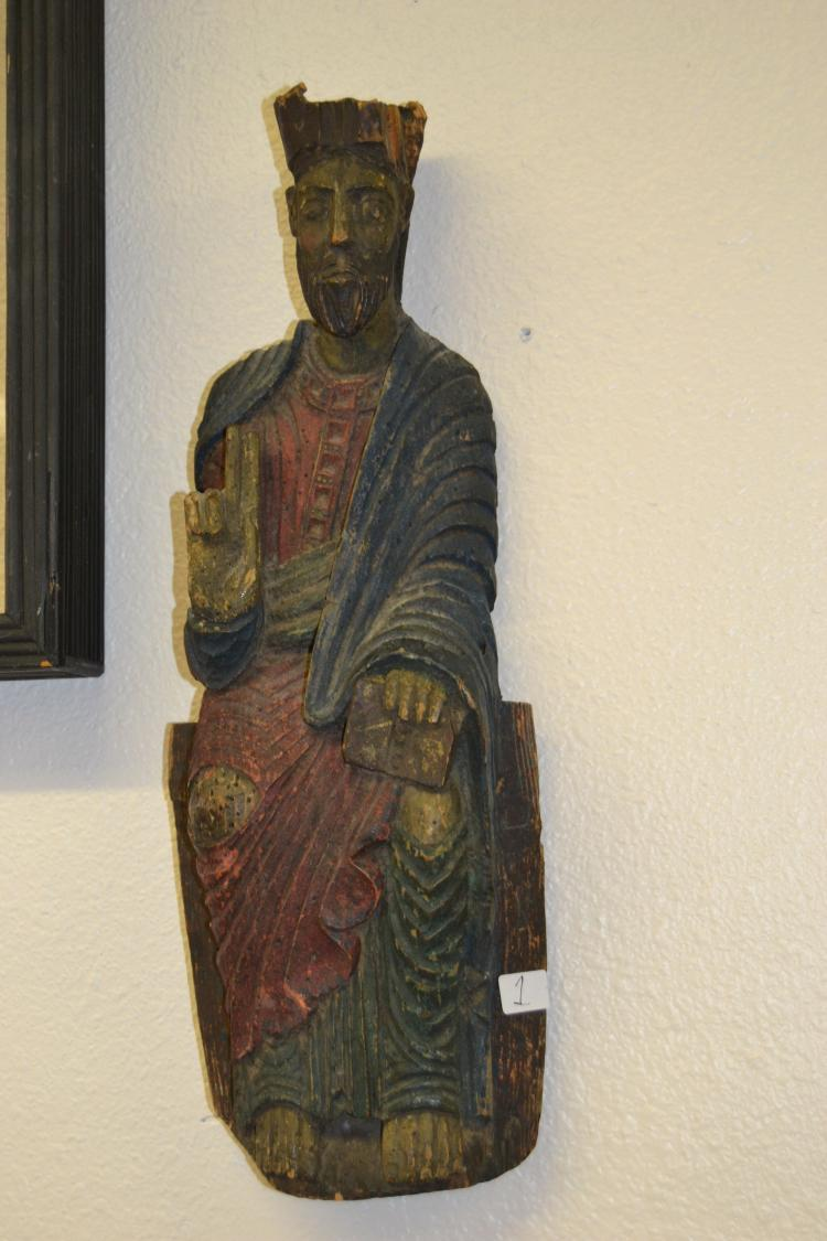 Antique Carved Wood Religious Icon