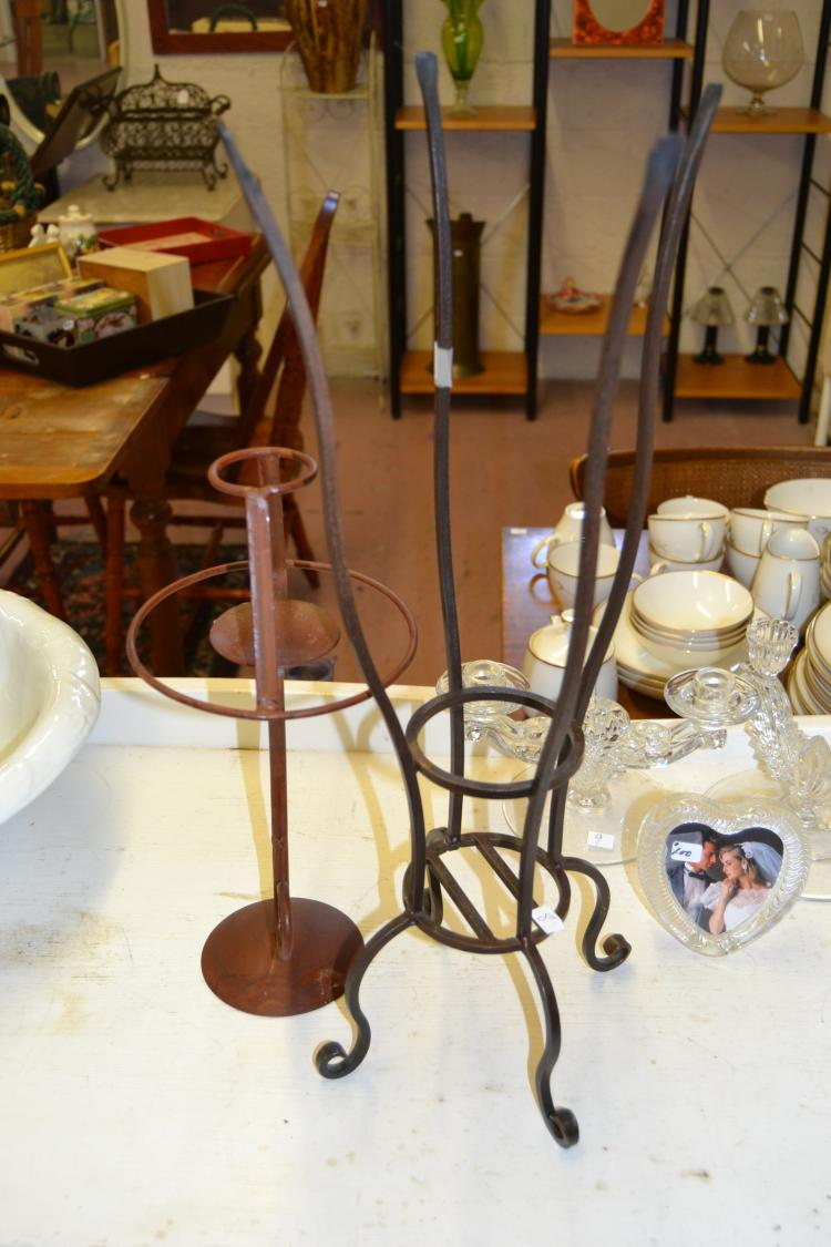 Lot 8: 2 Metal Art Candle Holders