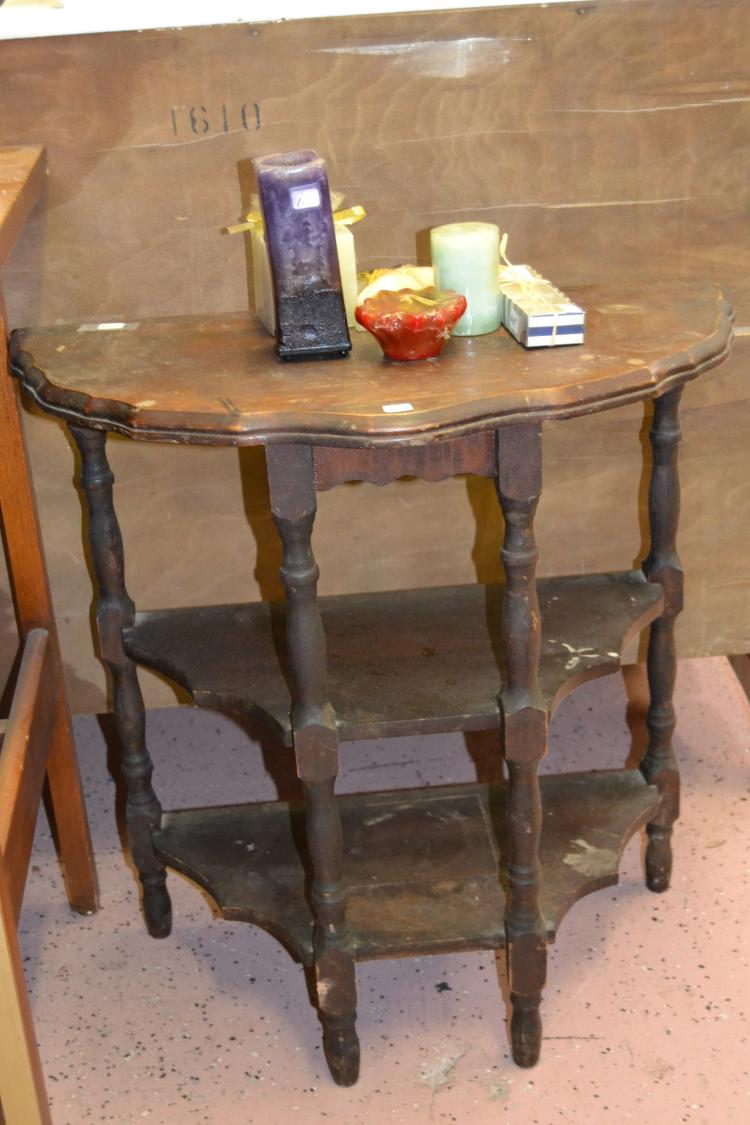 Antique Handmade Wood 3 Tier Side Table