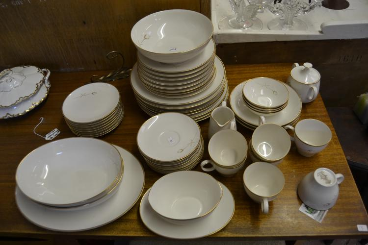 53 Piece Vintage Noritake Ivory Golden Rose China Dinnerware Set