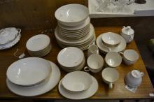Lot 14: 53 Piece Vintage Noritake Ivory Golden Rose China Dinnerware Set