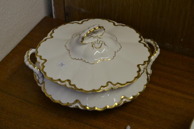 Pope Gosser Gold Gilted China Lidded Bowl