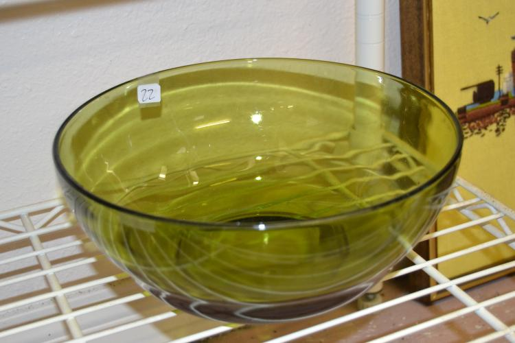 Vintage Large Green Glass Mixing Bowl