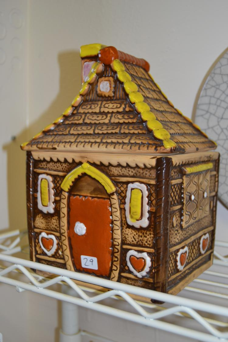 Vintage Hand-Painted Ceramic Gingerbread House Cookie Jar