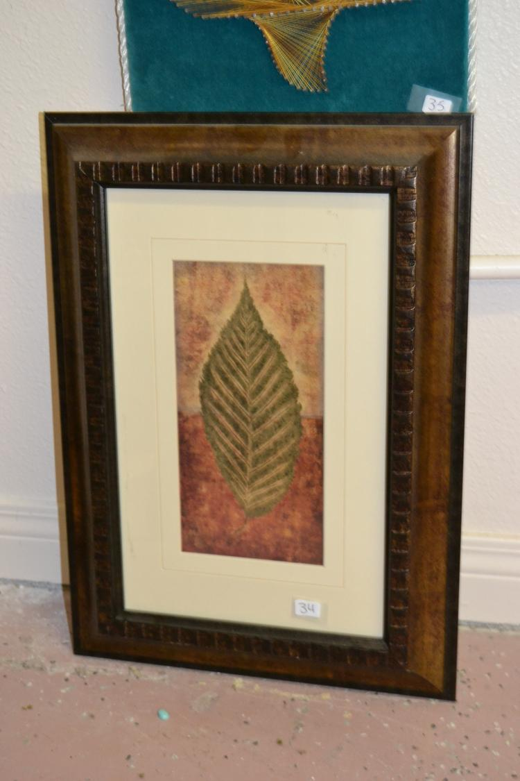 Decorative Framed And Matted Fall Color Leaf Print
