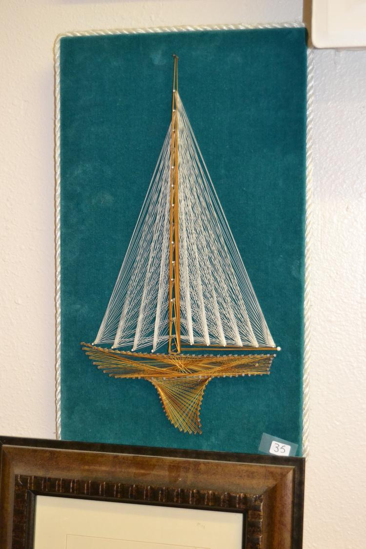 Vintage Geometric Sailboat 3D Thread Art