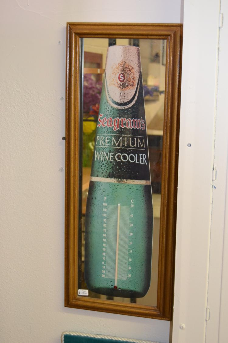 Vintage Seagram'S Premium Wine Cooler Thermometer Advertising Mirror