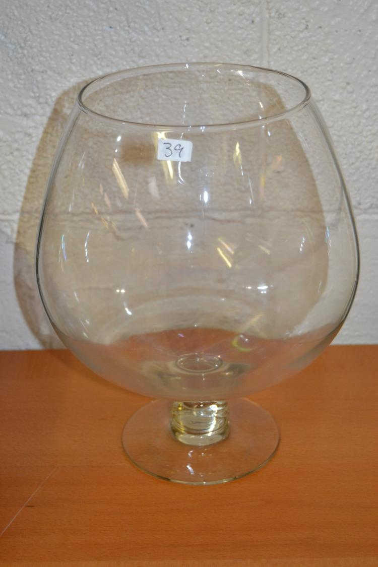 Oversized Hand Blown Courvoisier Snifter Style Glass Vase