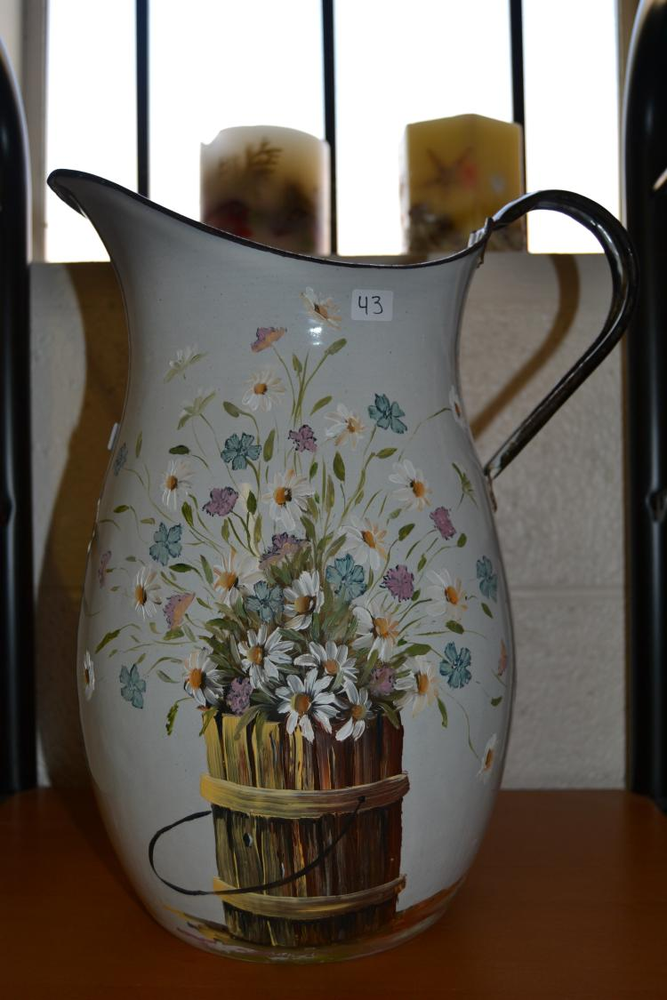 Antique Hand-Painted Floral Enameled Water Pitcher