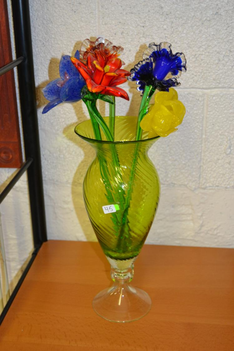 Hand Blown Green Art Glass Vase With 5 Art Glass Flowers