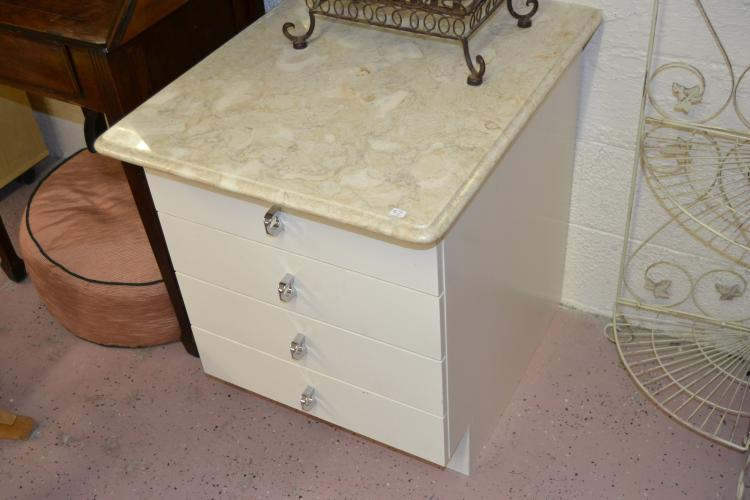 Vintage Retro Marble Top 4 Drawer Storage Cabinet