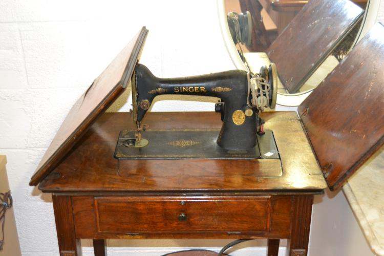 Antique Singer Fold-Out Sewing Machine Table
