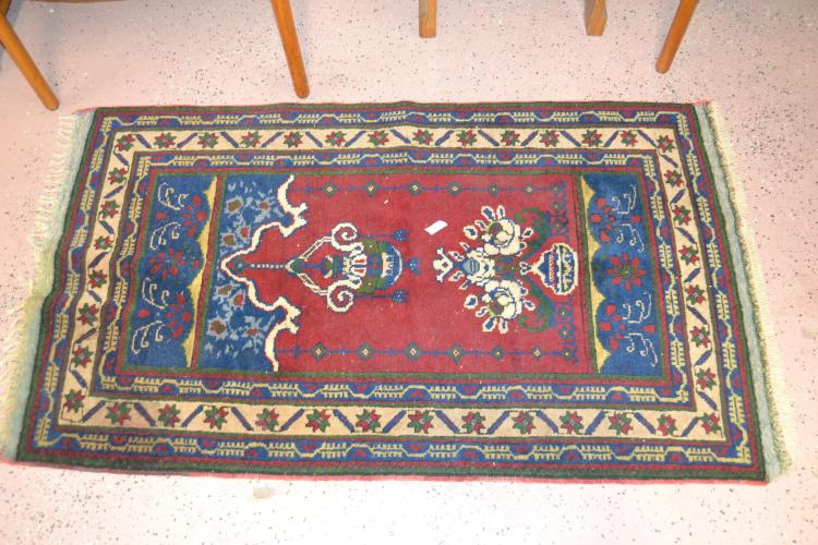 Vintage Hand Loomed 3X5 Wool Decorative Area Rug