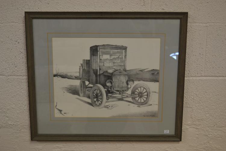 Roy Gene Franks Framed Lithograph Pencil Drawing Ford Model A Print