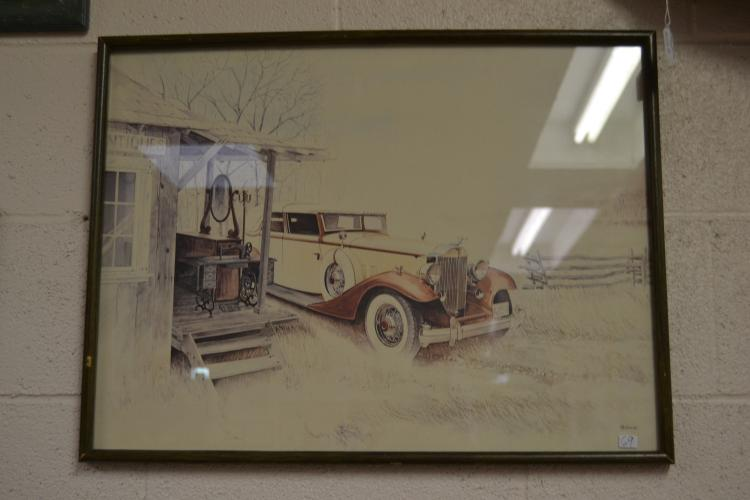 C Sibinski Framed And Matted Antique Store Duesenberg Print
