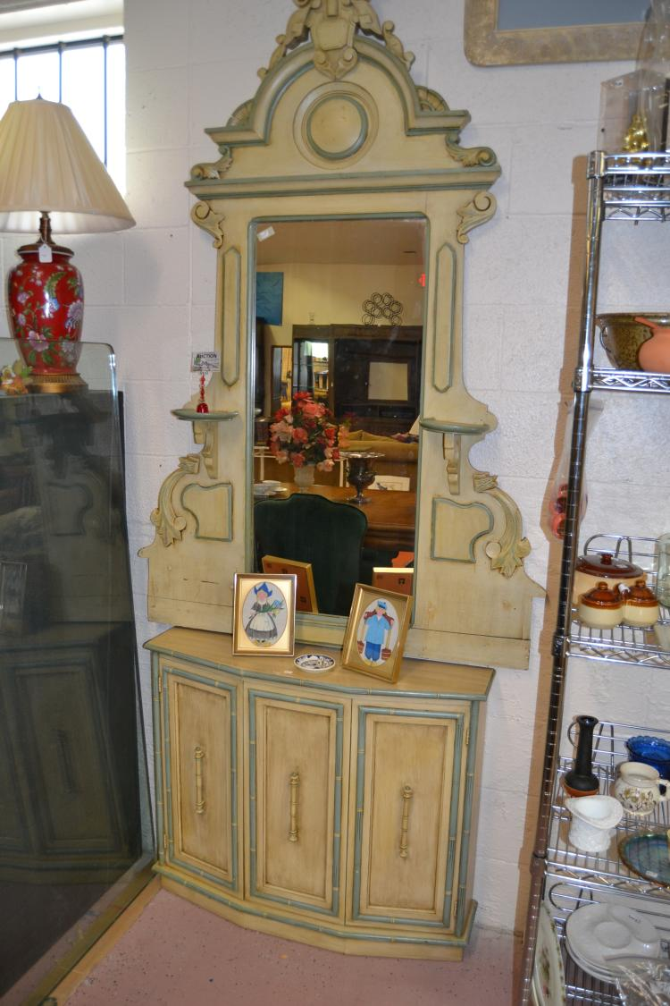 Vintage Carved Wood Hall Mirror And Storage Cabinet