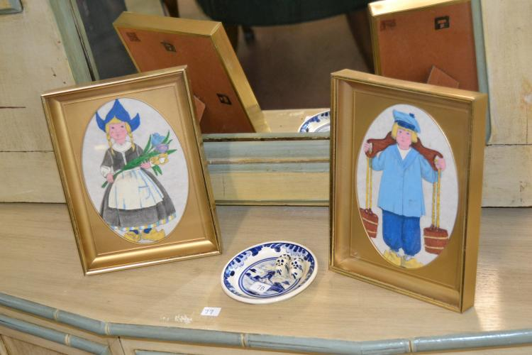 2 Vintage Hand Painted Miniature Holland Portraits With Blue Delft Plate And Clogs