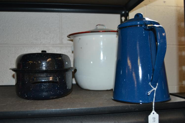 Vintage Enamelware Coffee Pot And Cookware