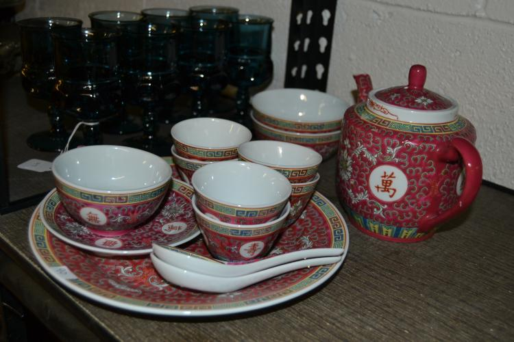 Vintage Colorful Chinese Sake And Tea Dishes